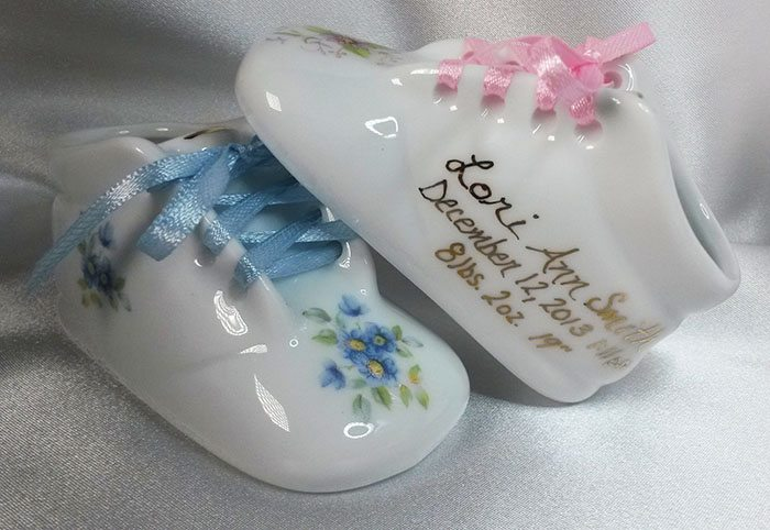 Porcelain baby shoe and booties keepsake treasured baby steps bootie negle Images